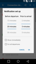 IDOS Timetables for Android - notification set up